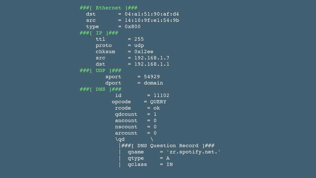 ###[ Ethernet ]###! dst = 04:a1:51:90:af:d4! sr...