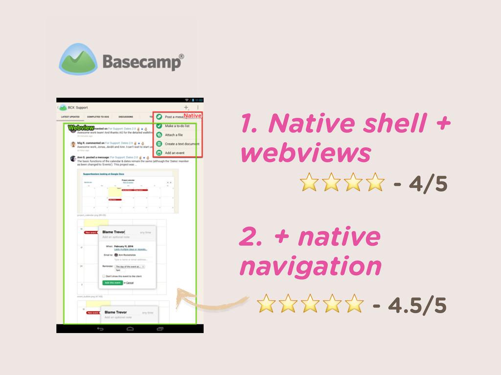 1. Native shell + webviews 2. + native navigat...