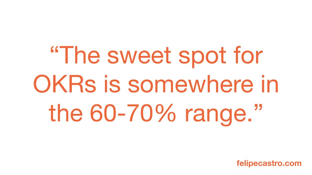 """The sweet spot for OKRs is somewhere in the 60..."