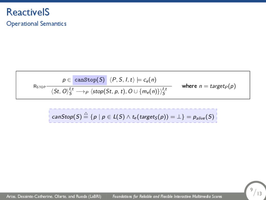 ReactiveIS Operational Semantics RSTOP p ∈ canS...
