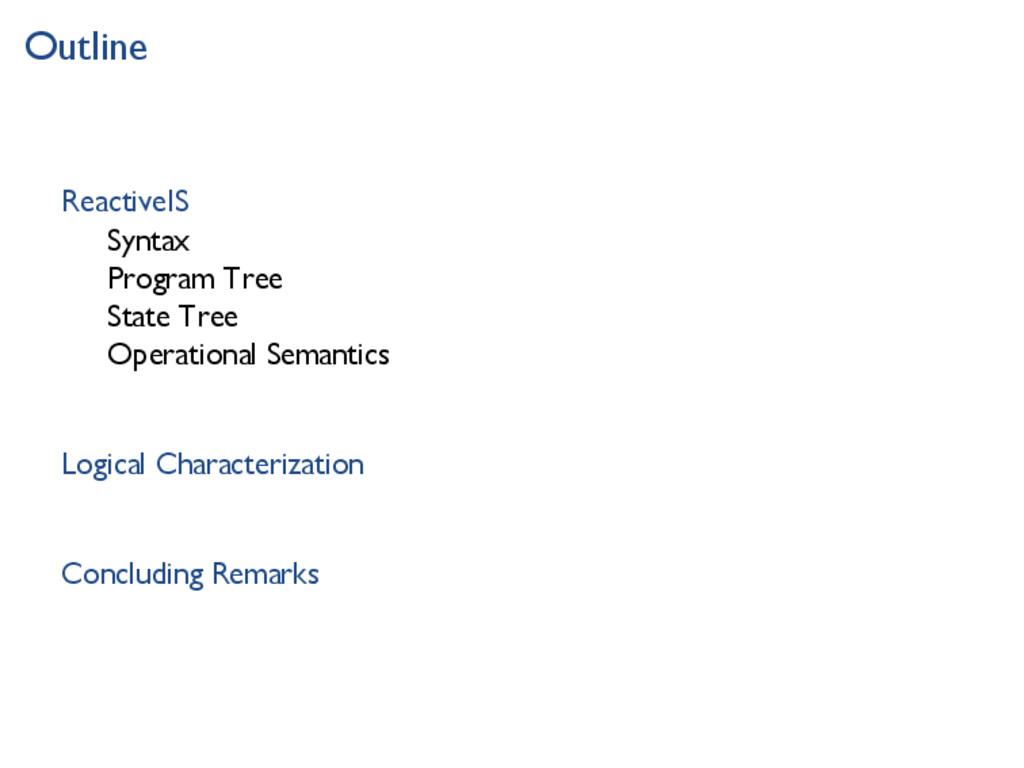 Outline ReactiveIS Syntax Program Tree State Tr...
