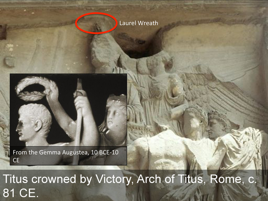 Titus crowned by Victory, Arch of Titus, Rome, ...