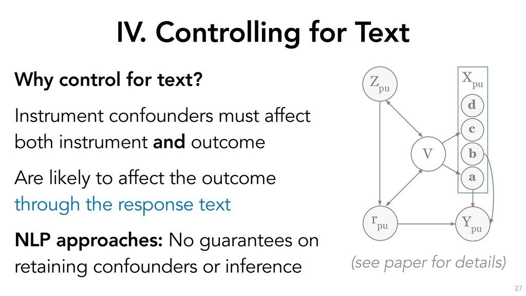 IV. Controlling for Text 27 Why control for tex...