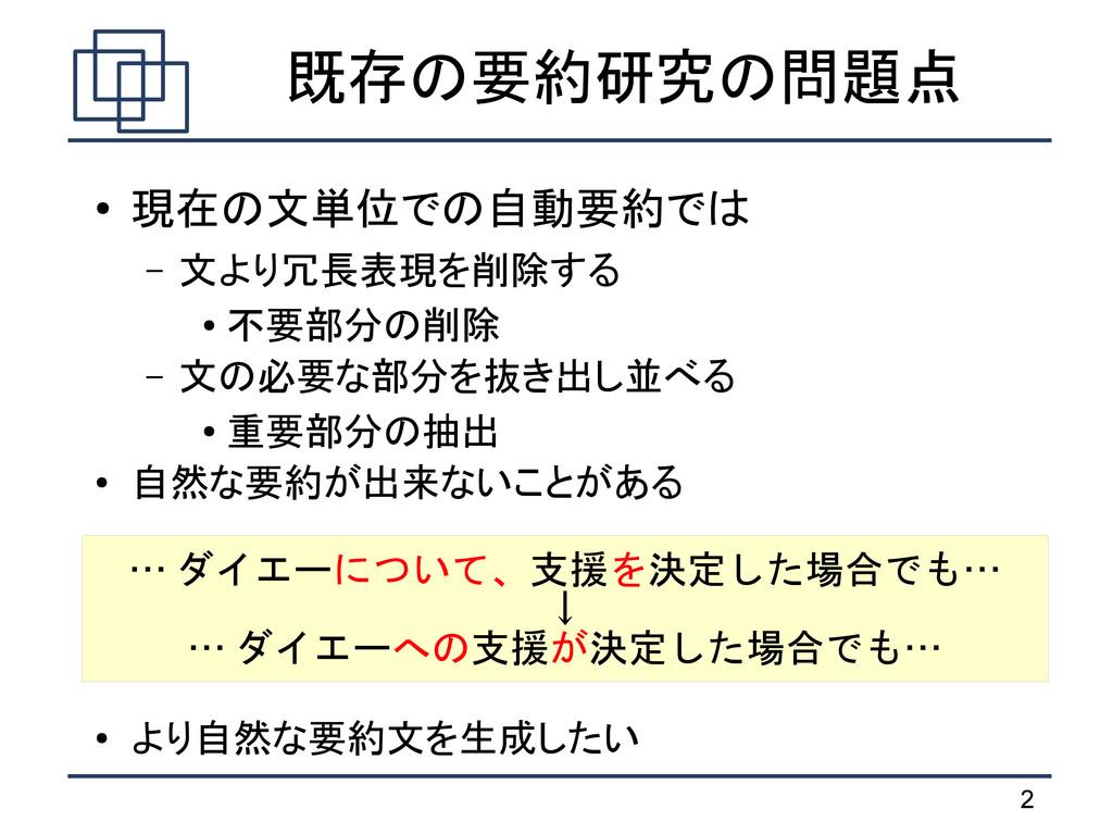 2 既存の要約研究の問題点 ● 現在の文単位での自動要約では – 文より冗長表現を削除する ●...