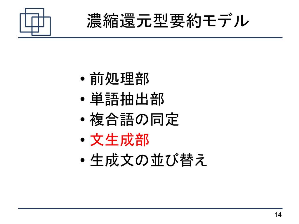 14 濃縮還元型要約モデル ● 前処理部 ● 単語抽出部 ● 複合語の同定 ● 文生成部 ● ...