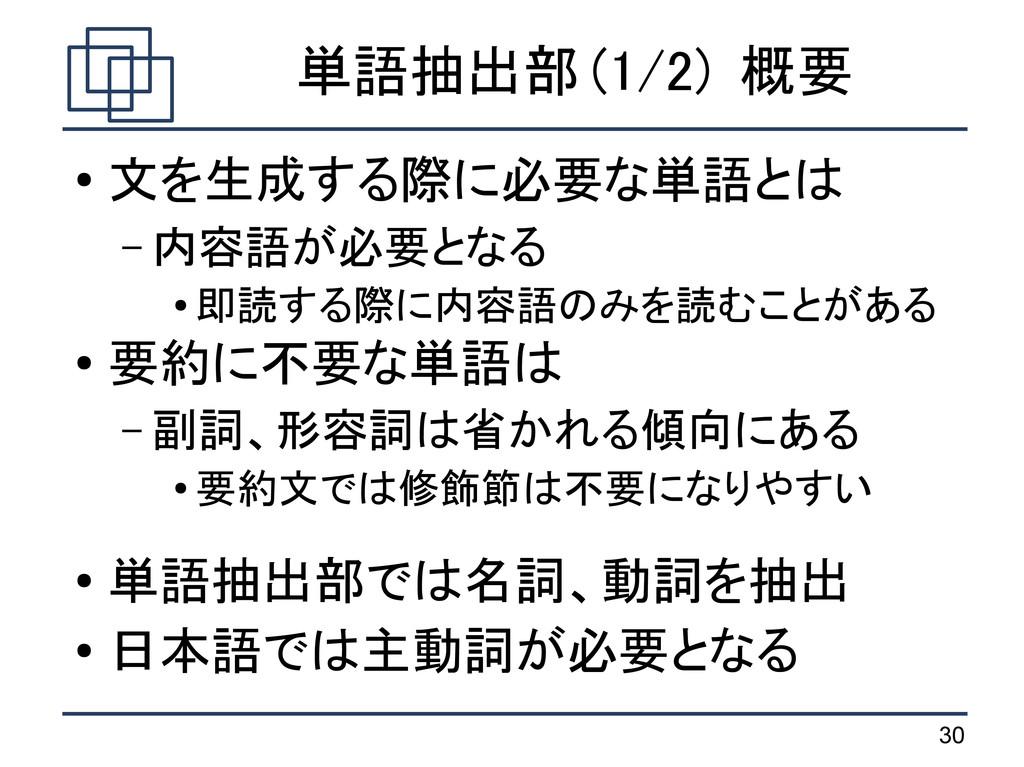 30 単語抽出部 (1/2) 概要 ● 文を生成する際に必要な単語とは – 内容語が必要となる...