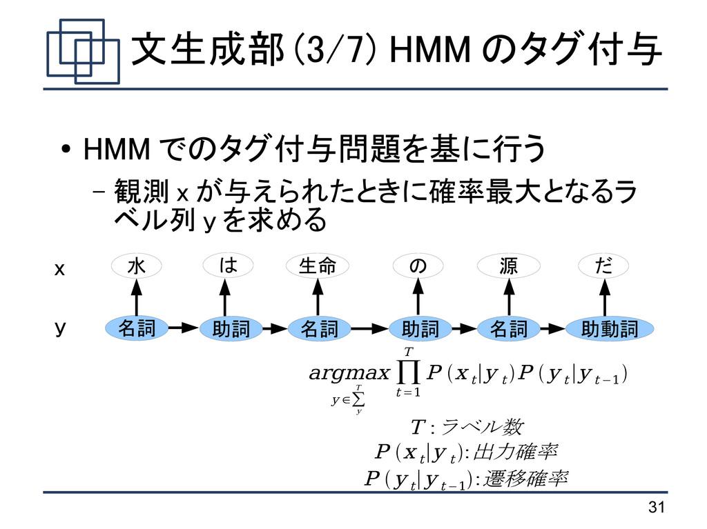 31 文生成部 (3/7) HMM のタグ付与 ● HMM でのタグ付与問題を基に行う – 観...