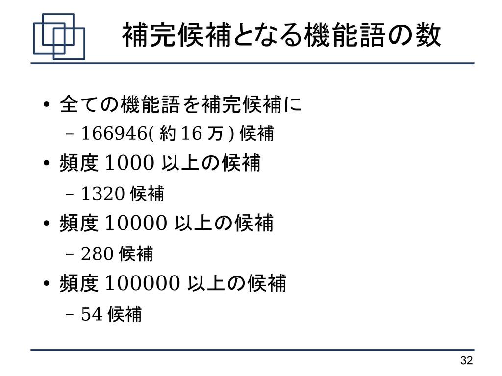 32 補完候補となる機能語の数 ● 全ての機能語を補完候補に – 166946( 約 16 万...