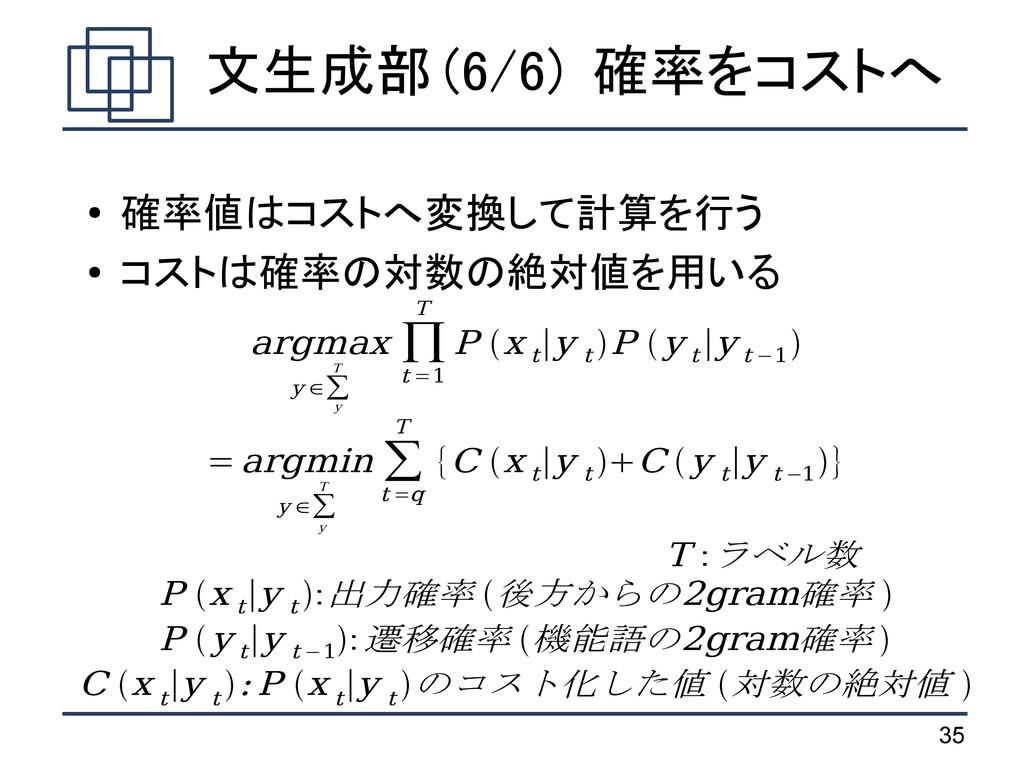 35 文生成部 (6/6) 確率をコストへ ● 確率値はコストへ変換して計算を行う ● コスト...