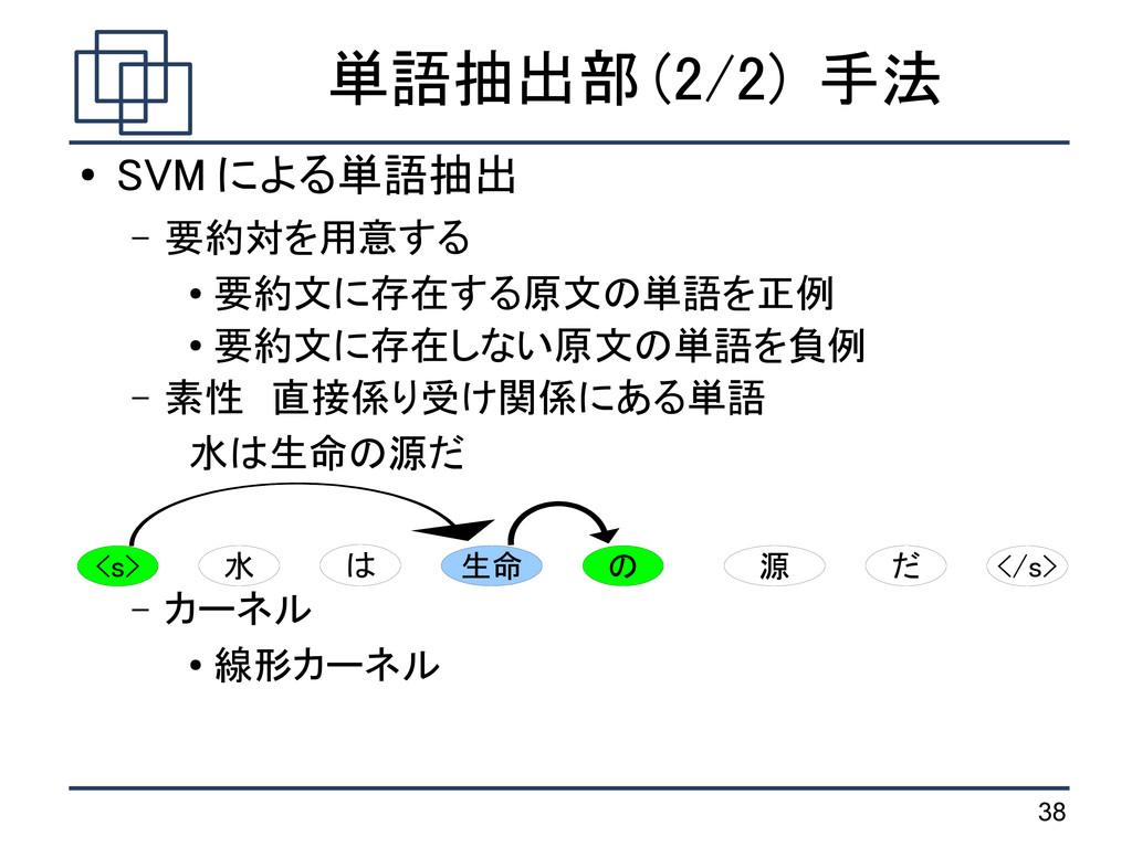 38 単語抽出部 (2/2) 手法 ● SVM による単語抽出 – 要約対を用意する ● 要約...