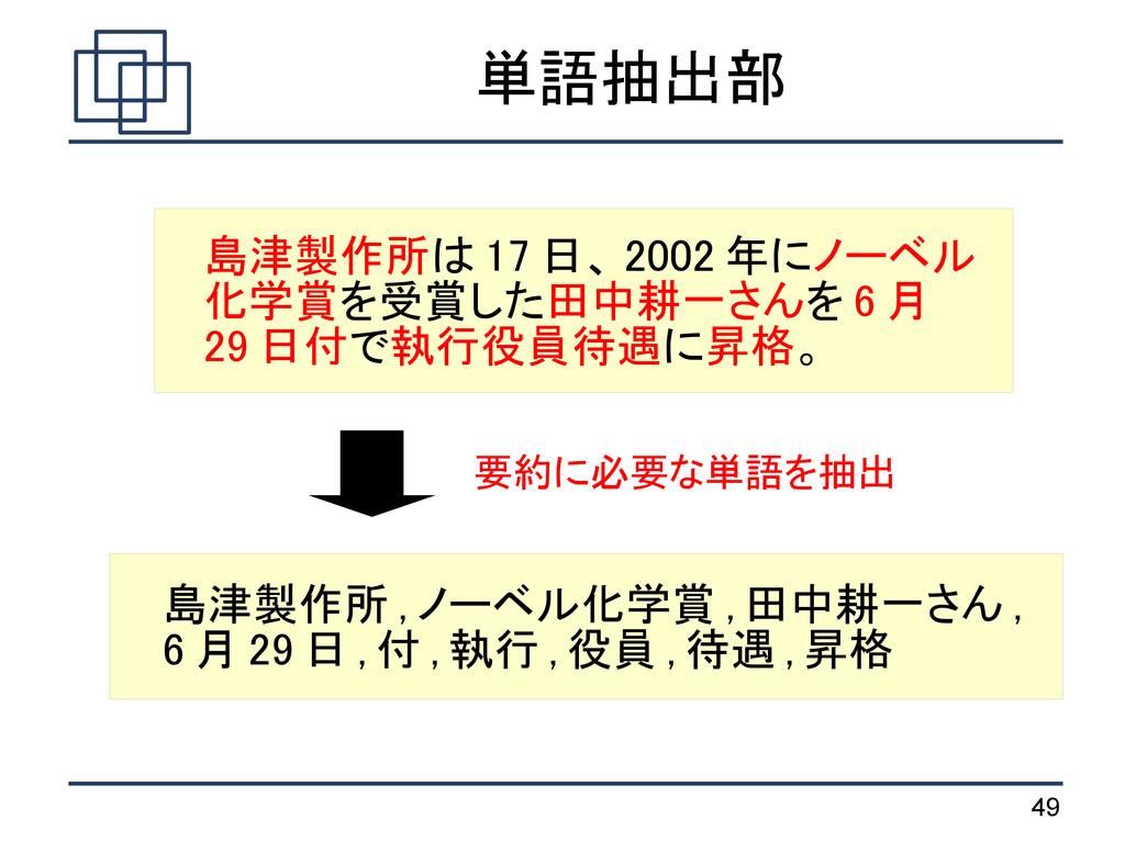 49 単語抽出部 島津製作所は 17 日、 2002 年にノーベル 化学賞を受賞した田中耕一さ...