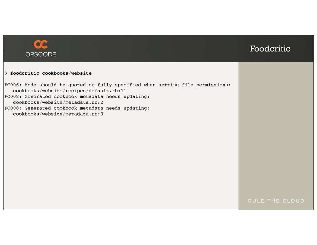 Foodcritic $ foodcritic cookbooks/website FC006...