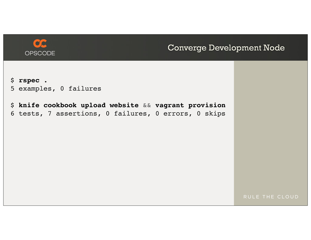 Converge Development Node $ rspec . 5 examples,...