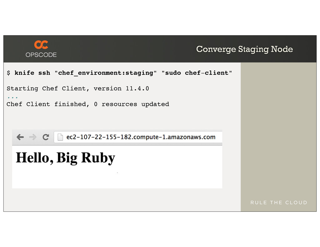 """Converge Staging Node $ knife ssh """"chef_environ..."""