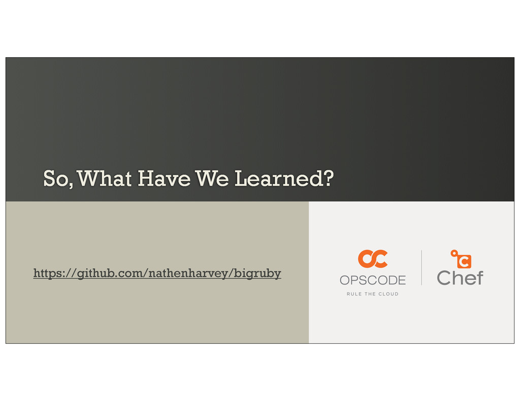 So, What Have We Learned? https://github.com/na...