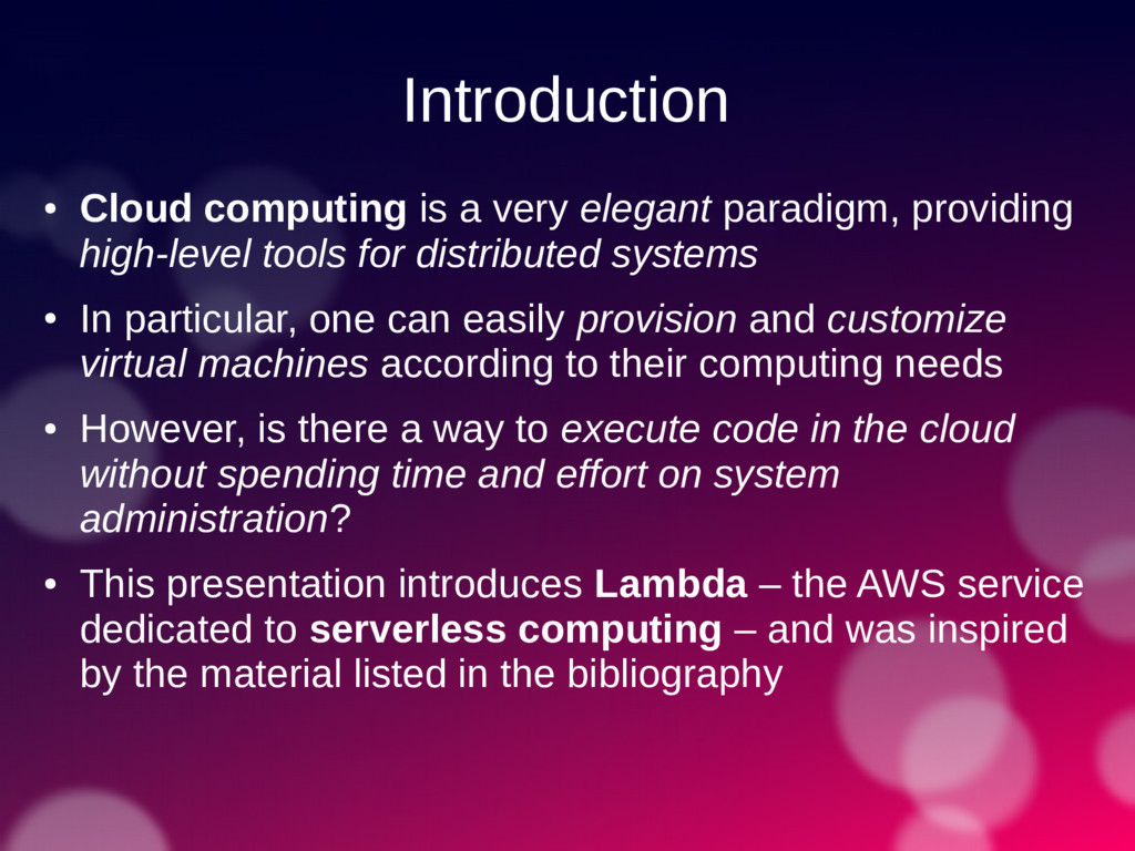 Introduction ● Cloud computing is a very elegan...