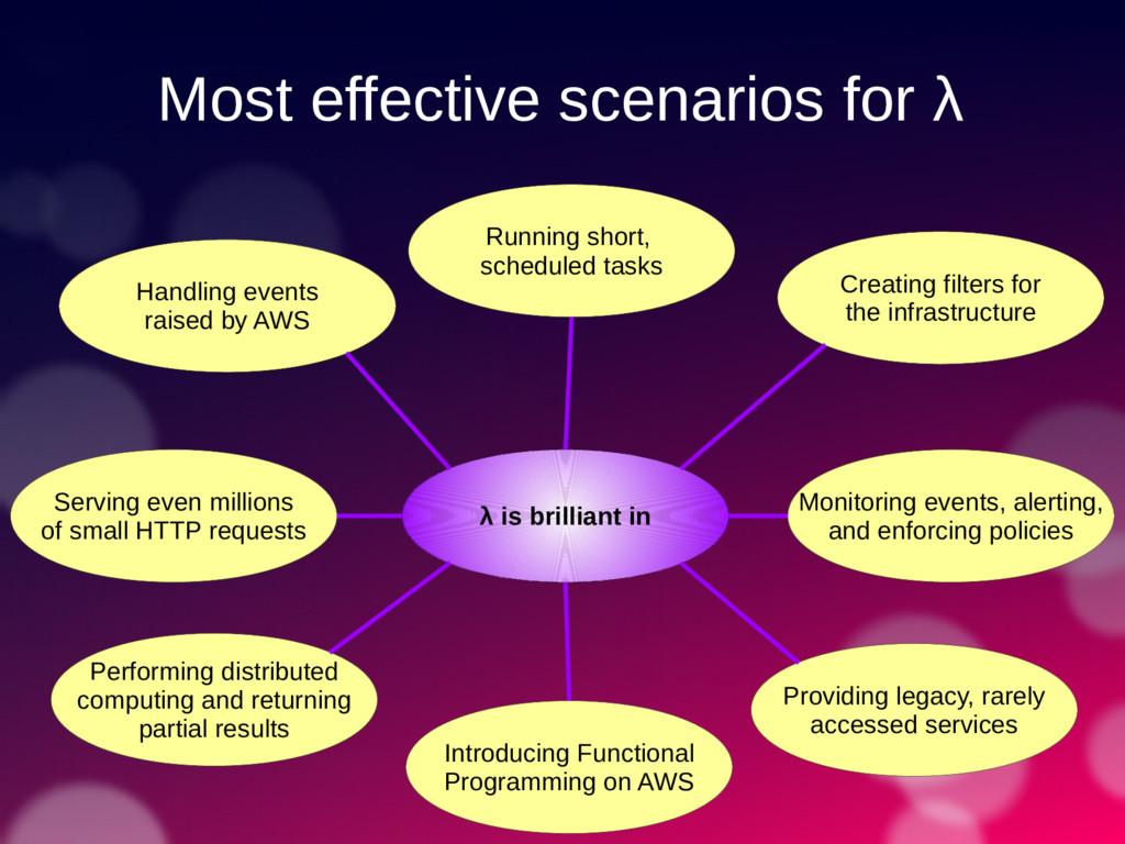 Most effective scenarios for λ λ is brilliant i...