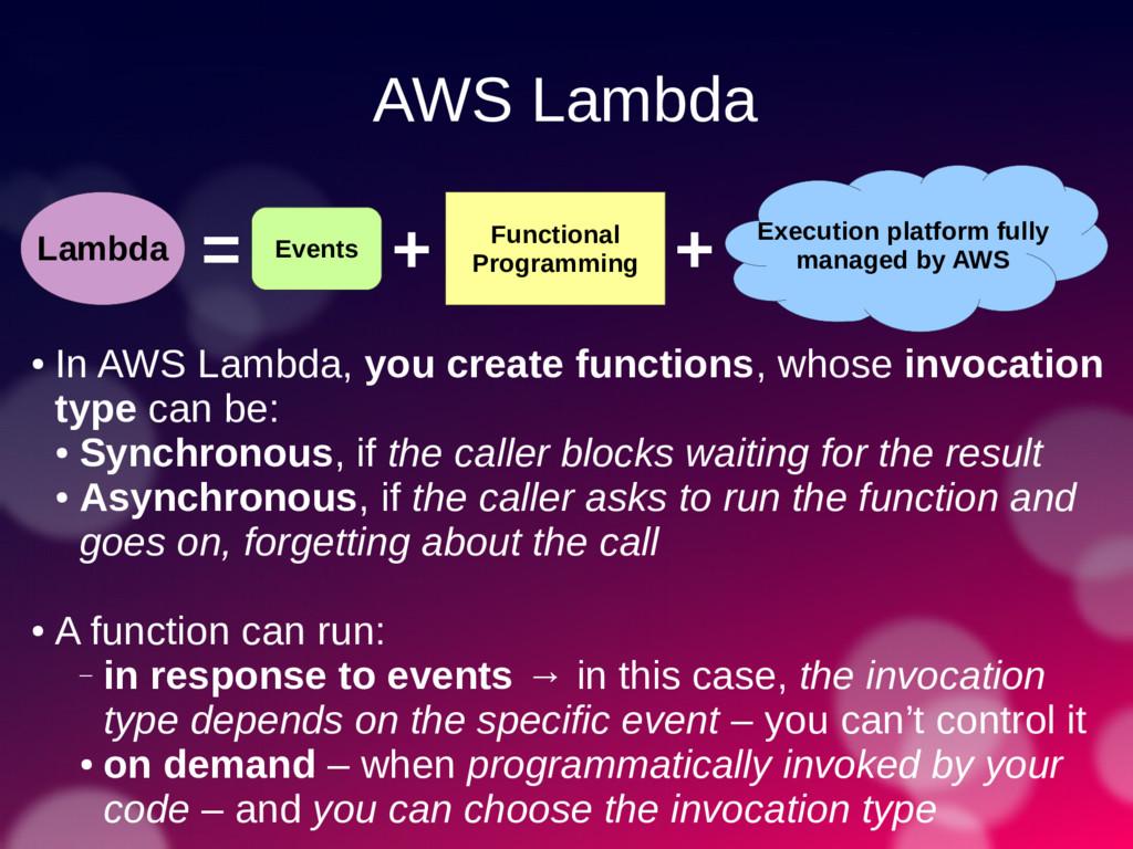 AWS Lambda Lambda = Functional Programming Exec...