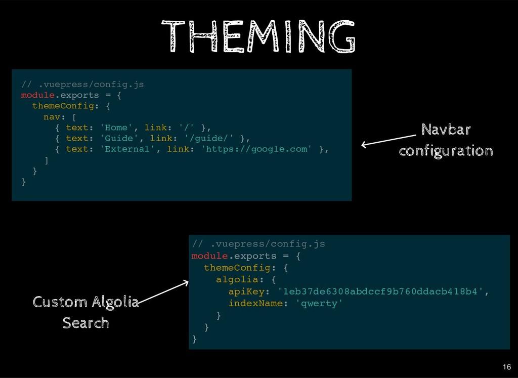 // .vuepress/config.js module.exports = { theme...