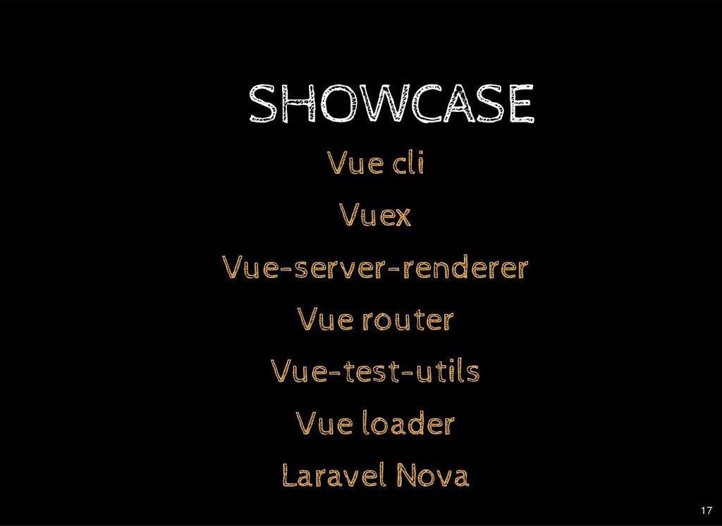 SHOWCASE Vue cli Vuex Vue-server-renderer Vue r...