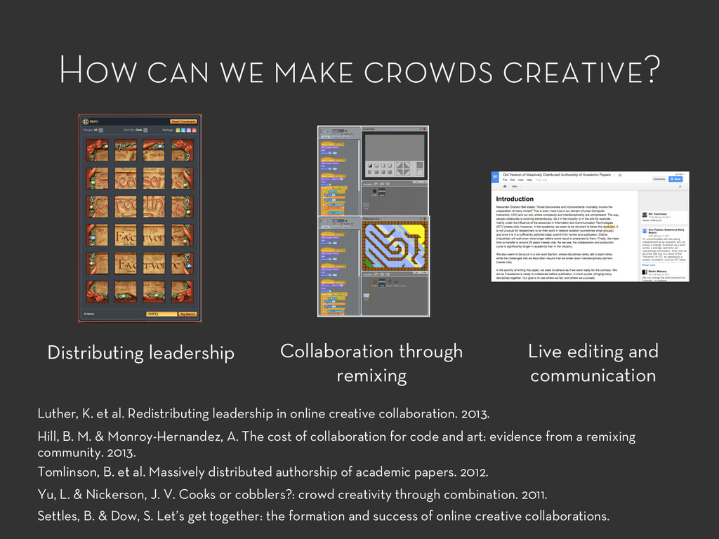How can we make crowds creative? Distributing l...