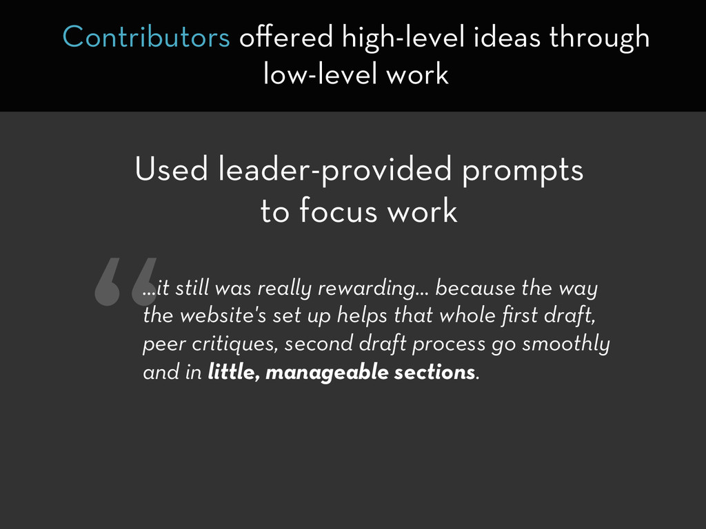 Used leader-provided prompts to focus work Cont...