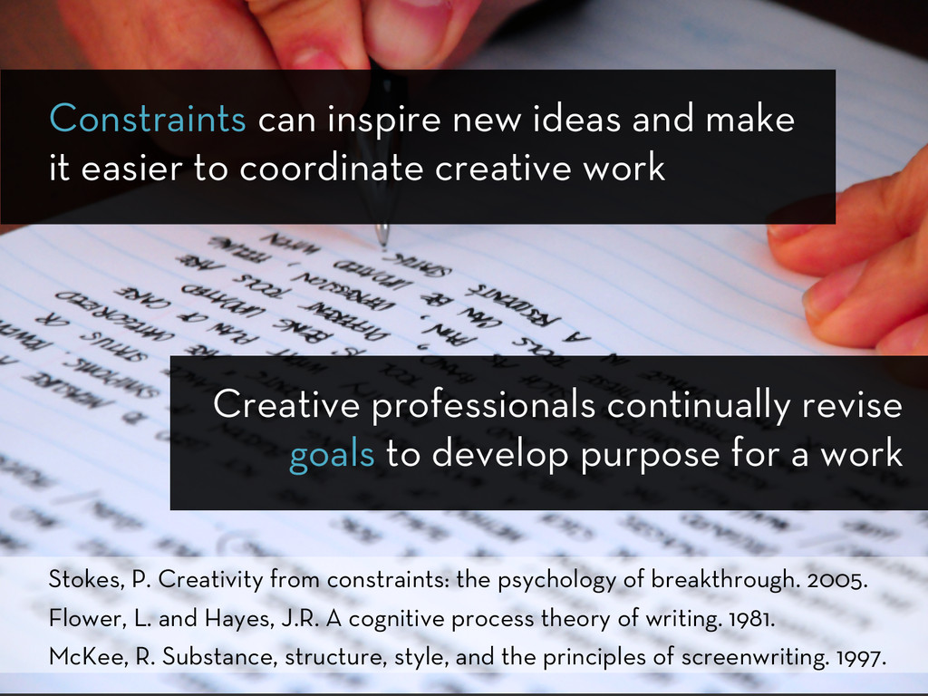 Creative professionals continually revise goals...