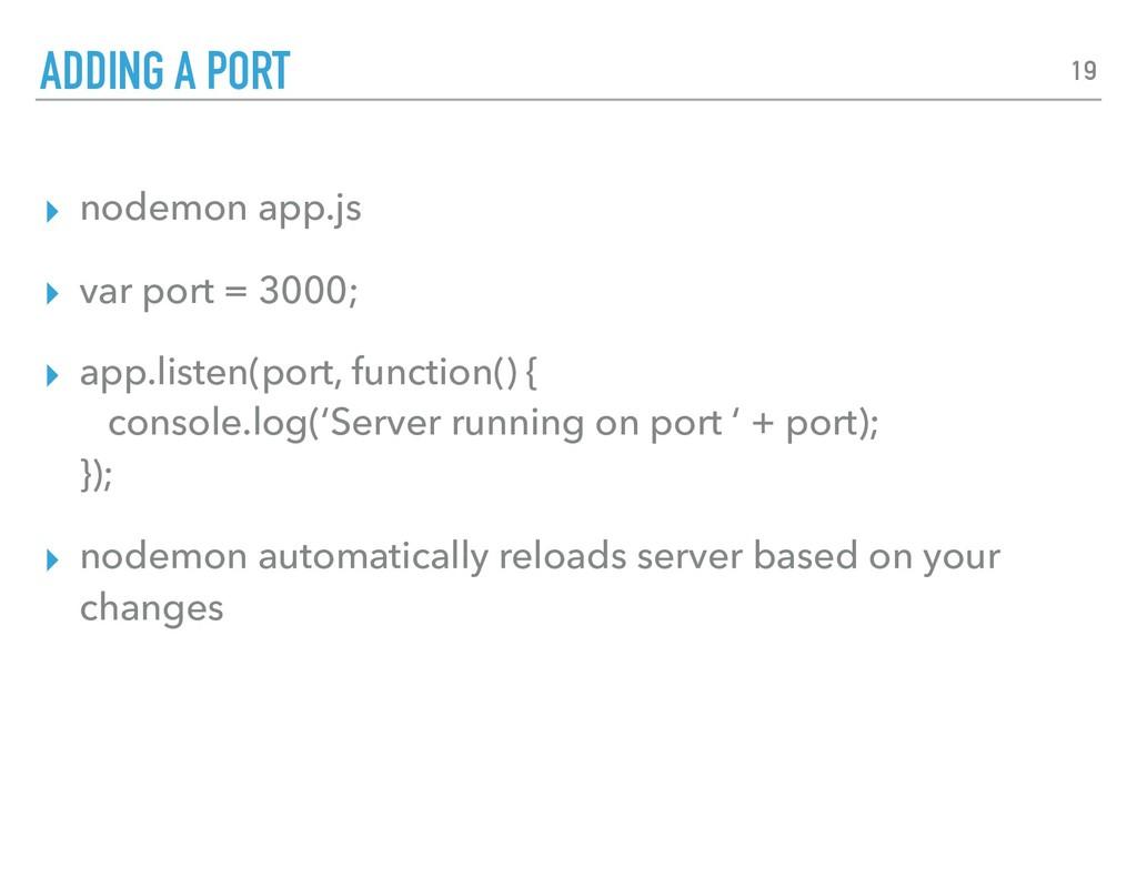 ▸ nodemon app.js ▸ var port = 3000; ▸ app.liste...