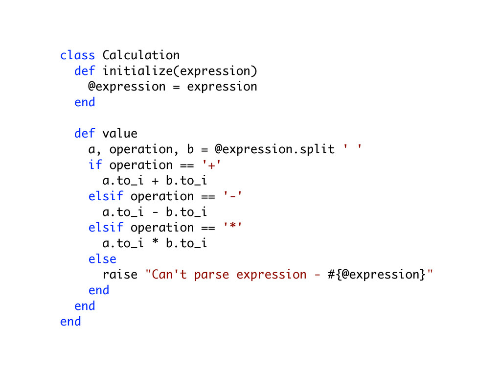 class Calculation def initialize(expression) @e...
