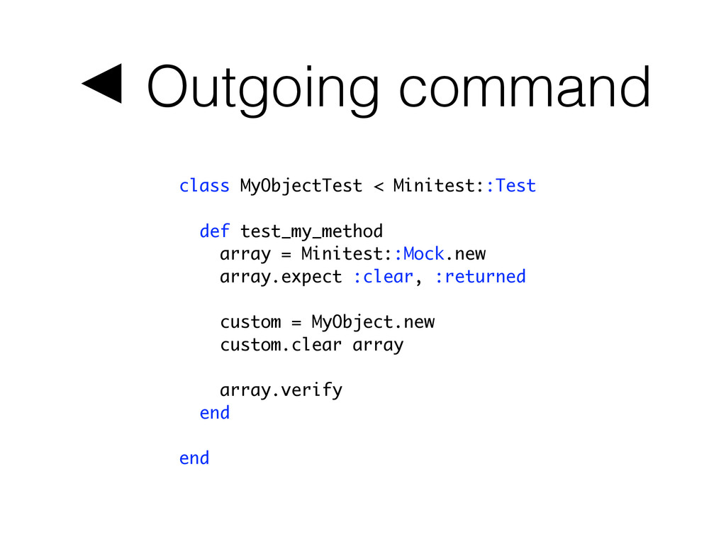 ◀ Outgoing command class MyObjectTest < Minites...