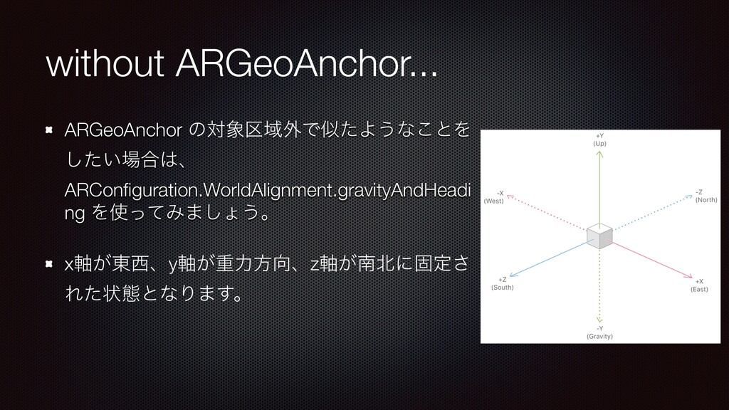 without ARGeoAnchor... ARGeoAnchor ͷର৅۠Ҭ֎ͰࣅͨΑ͏ͳ...