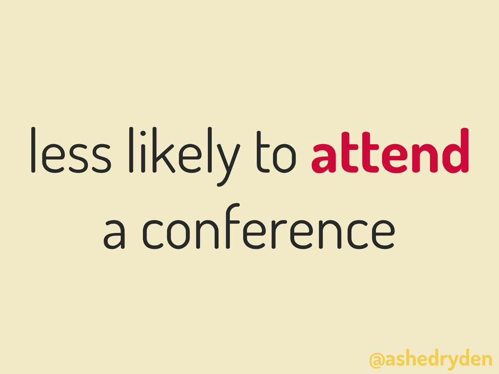 @ashedryden less likely to attend a conference