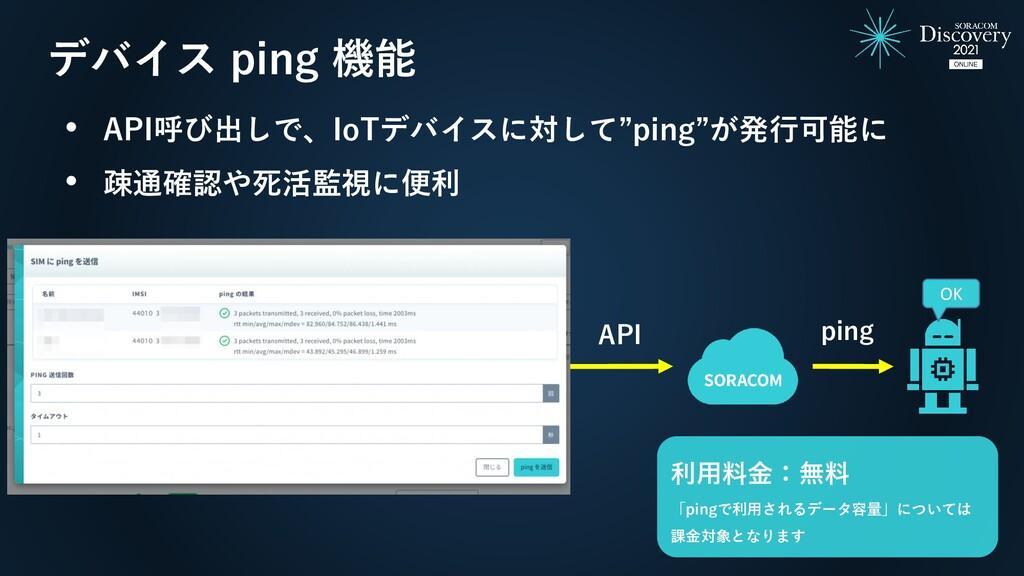 """デバイス ping 機能 ping API • API呼び出しで、IoTデバイスに対して""""pi..."""