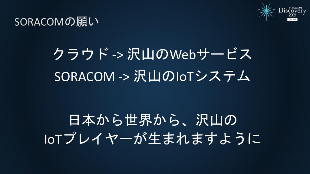 クラウド -> 沢山のWebサービス SORACOM -> 沢山のIoTシステム 日本から世界...