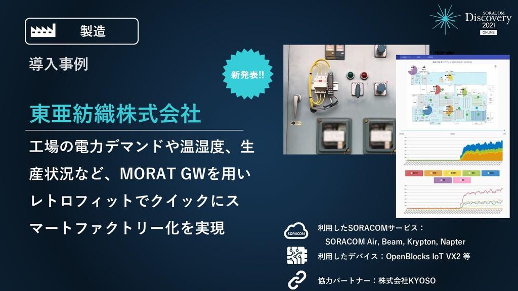 東亜紡織株式会社 工場の電力デマンドや温湿度、生 産状況など、MORAT GWを用い レトロフ...