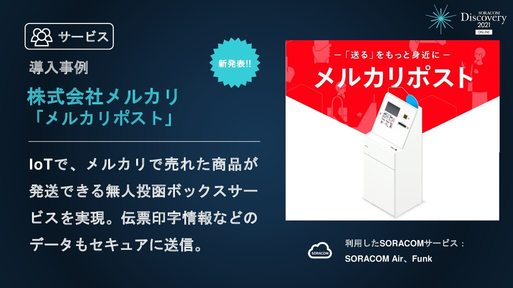 株式会社メルカリ 「メルカリポスト」 IoTで、メルカリで売れた商品が 発送できる無人投函ボッ...