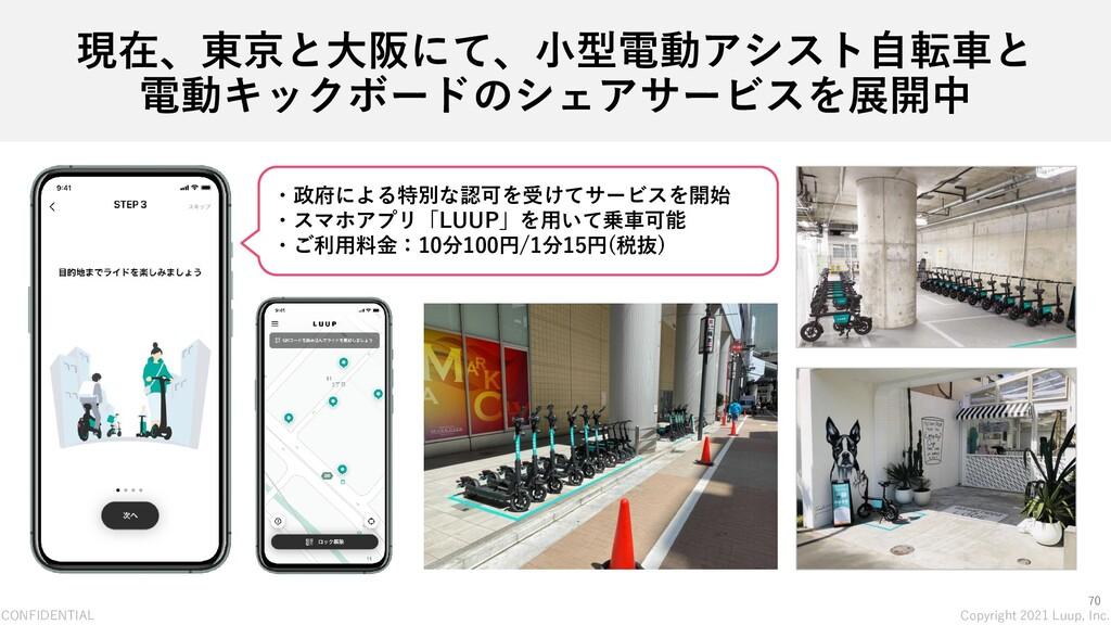 CONFIDENTIAL Copyright 2021 Luup, Inc. 70 現在、東京...