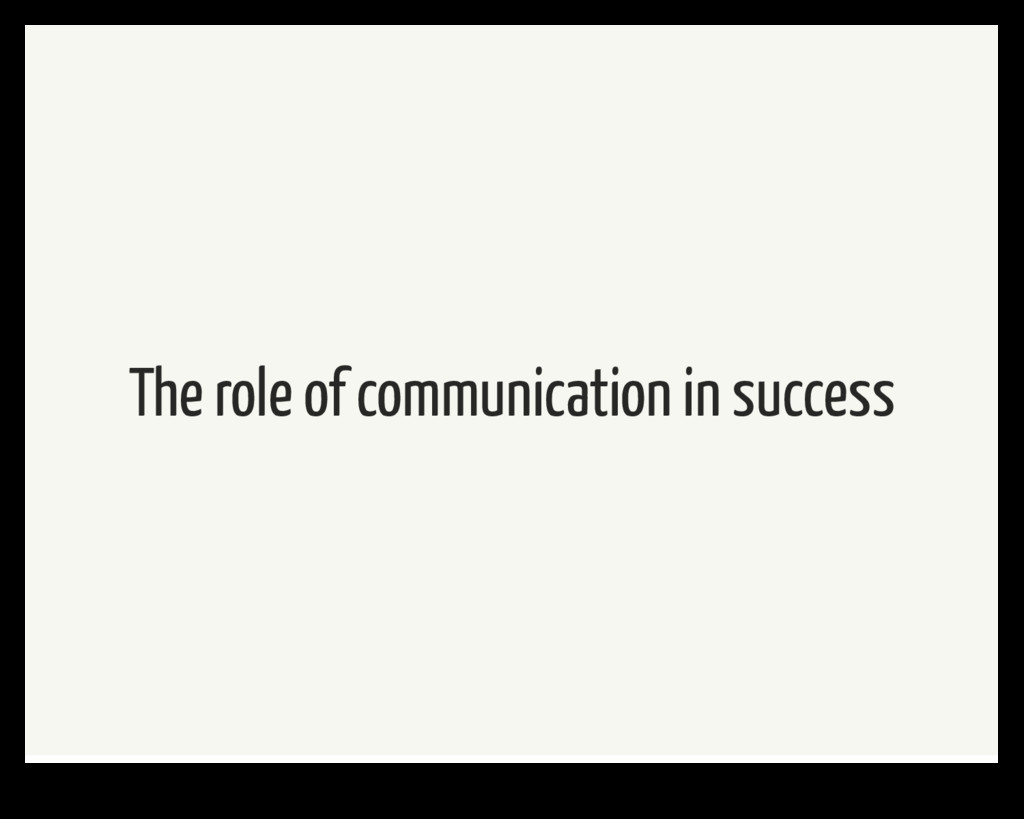 The role of communication in success