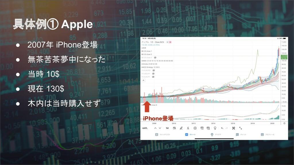 具体例① Apple ● 2007年 iPhone登場 ● 無茶苦茶夢中になった ● 当時 1...