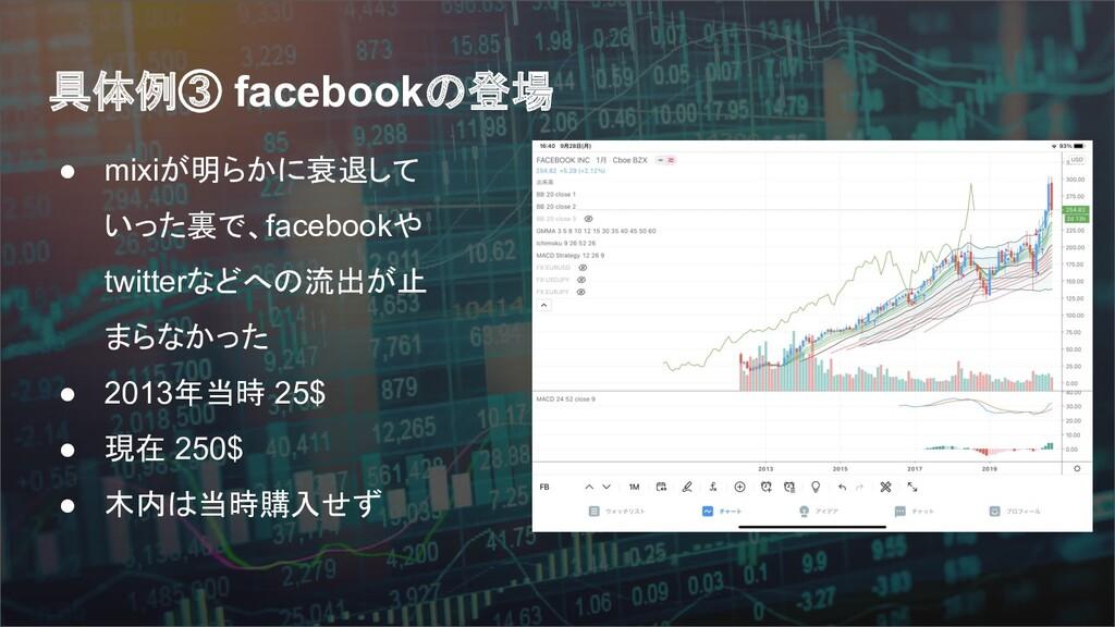 具体例③ facebookの登場 ● mixiが明らかに衰退して いった裏で、facebook...