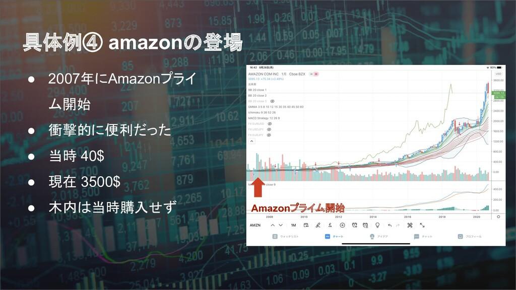 具体例④ amazonの登場 ● 2007年にAmazonプライ ム開始 ● 衝撃的に便利だっ...