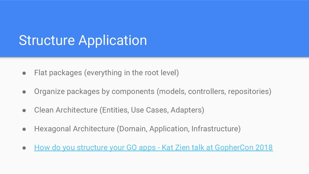 Structure Application ● Flat packages (everythi...