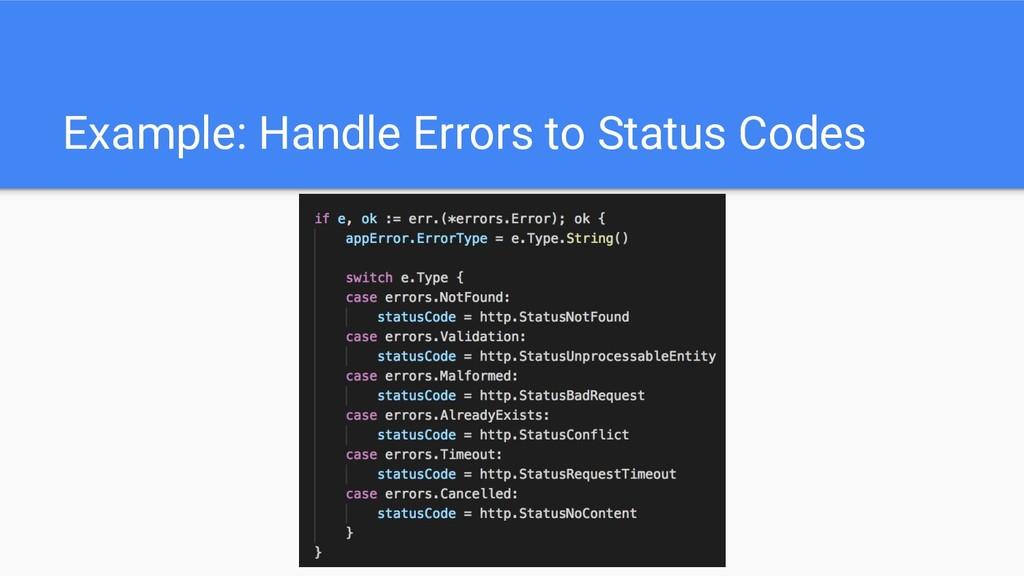 Example: Handle Errors to Status Codes