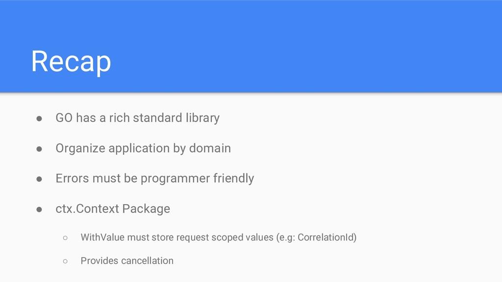 Recap ● GO has a rich standard library ● Organi...