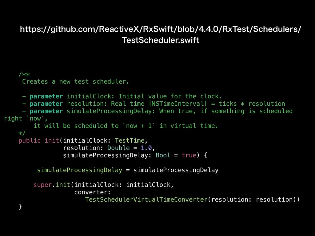 /** Creates a new test scheduler. - parameter i...