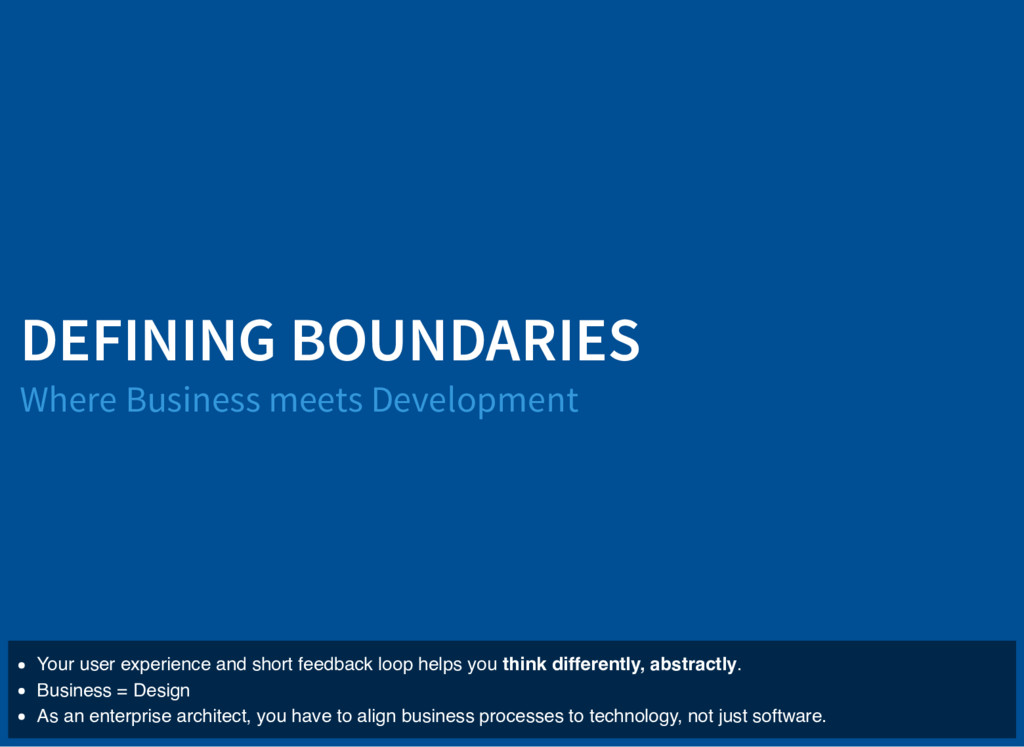 DEFINING BOUNDARIES Where Business meets Develo...
