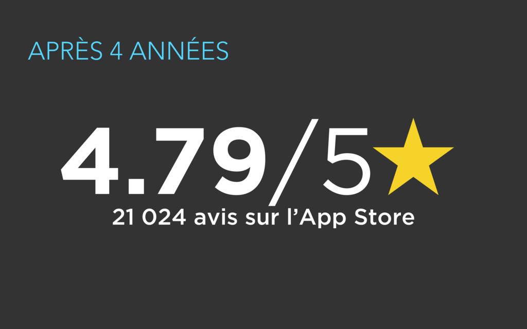 APRÈS 4 ANNÉES 21 024 avis sur l'App Store 4.79...