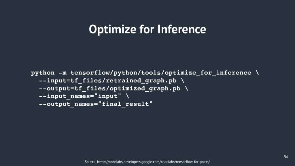54 Optimize for Inference Source: https://codel...
