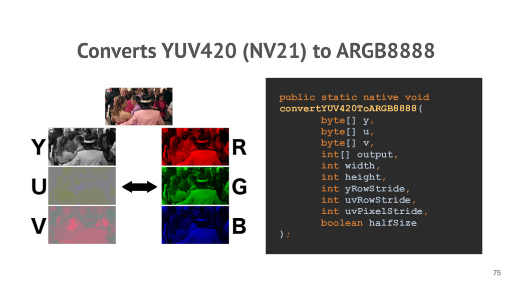 Converts YUV420 (NV21) to ARGB8888 75 public st...