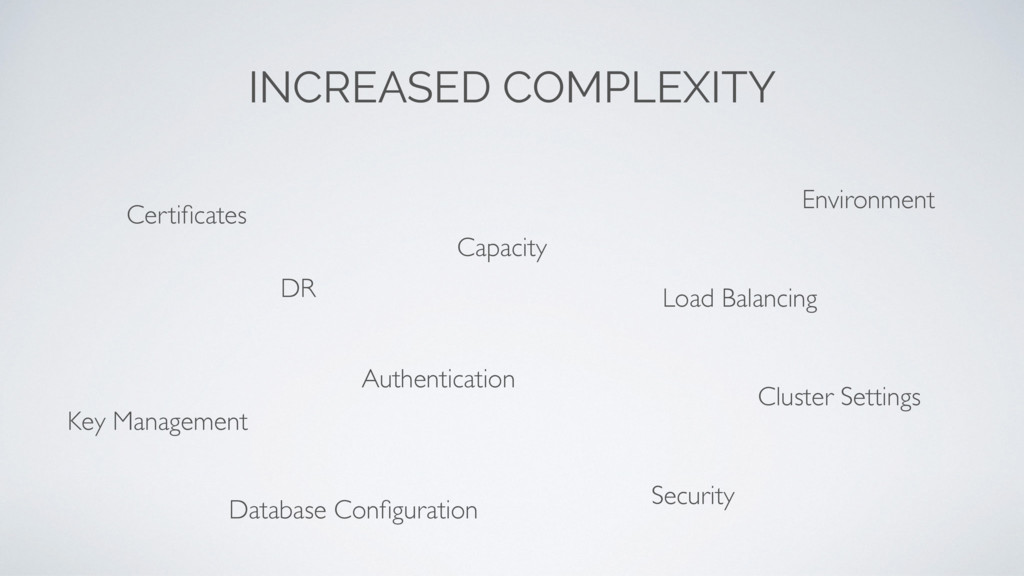 INCREASED COMPLEXITY Capacity Security Authenti...